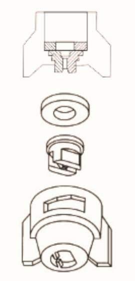 Ugello a spruzzo con morsetto in plastica Serie J 12